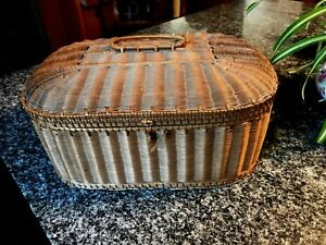 Lovely Antique Woven Sewing Basket W Purple Tufted Satin Lining