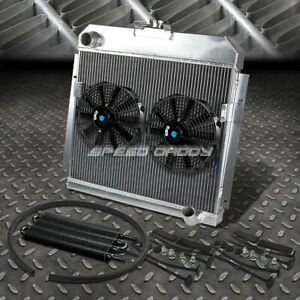 3row Radiator 2x 9 Fan Oil Cooler For 53 54 Dodge Mopar 6cyl Chevy Small Block