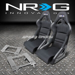 Nrg Deep Bucket Racing Seats Cushion Stainless Steel Bracket For 82 92 Firebird