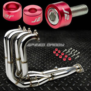 J2 For Dc2 B16 B18 Exhaust Manifold Race Tri Y Header Red Washer Cup Bolts