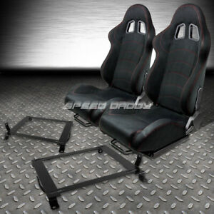 2 X Black Suede Reclinable Racing Seats Low Mount Bracket For 06 11 Civic Fg Fa
