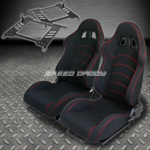 Pair Type 1 Reclining Black Cloth Racing Seat Bracket For 00 06 Maxima Sentra