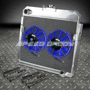 3 Row Full Aluminum Radiator 2 Blue Fan For 53 54 Dodge Mopar Small Block Sbc