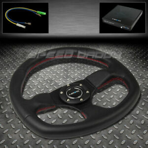 Nrg Pvc Leather Aluminum 32cm Racing Steering Wheel Black red Stitch oval Bottom