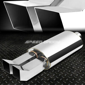 2 5 inlet 2 3 8 Chrome Dual Bent Tip T304 Stainless Racing Oval Exhaust Muffler