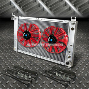 2 row Aluminum Radiator 2x 9 Fan Red For 99 07 Yukon sierra tahoe escalade V8