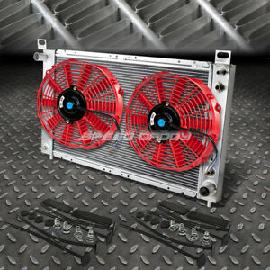 2 row Aluminum Radiator 1x 14 fan Red For 99 07 Yukon sierra tahoe escalade V8