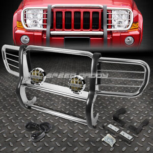 Chrome Brush Grill Guard Round Smoke Fog Light For 06 10 Jeep Commander Xk Suv