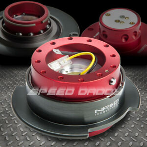 Nrg Thin Steering Wheel 6 hole Hub Gen 2 5 Quick Release Adaptor Kit Red brushed