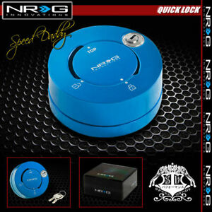 Nrg Thin Steering Wheel Short 6 hole Quick Release Lock W Key Adaptor New Blue