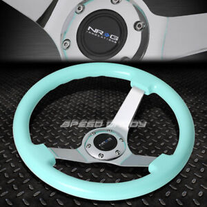 Nrg 350mm 3 deep Dish 6 hole Minty Fresh Wood Grain Steering Wheel Chrome Center