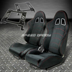 Pair Type 1 Reclining Black Suede Racing Seat Bracket For 02 07 Wrx Sti Gd Gg
