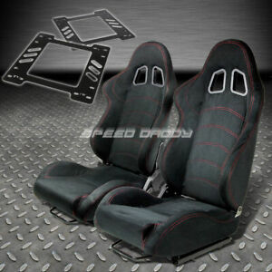 Pair Type 1 Reclining Black Suede Racing Seat Bracket For 78 88 Monte Carlo A G