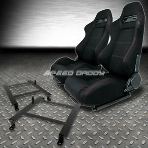 Type R Red Stitches Sports Racing Seats Low Mount Bracket For 97 04 Corvette C5