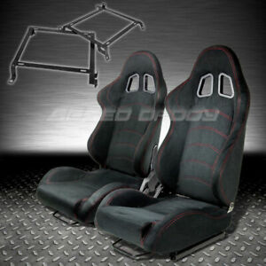 T1 Fully Reclinable Black Suede Racing Seat Seats Slider Bracket 88 91 Crx Cr X