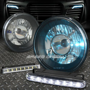 7 7x7 Round Black Projector Headlight 8 Led Grill Fog Light For Chevy dodge