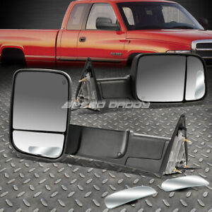 Power Black Heat Foldable Towing safety Blind Spot Mirror For 13 16 Dodge Ram