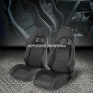 2 X Pvc Leather Black Universal Full Reclinable Xl 06 Sports Style Racing Seat