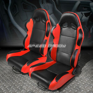 Pair Black Center Red Fully Reclinable Pvc Leather Type R Racing Seats W Slider