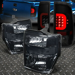 For 2008 2010 Ford Super Duty Red Led Bar Tinted Tail Light clear Euro Headlight