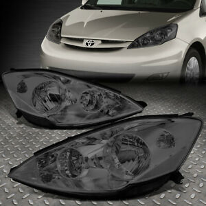 For 06 10 Toyota Sienna Smoked Housing Clear Corner Headlight Replacement Lamps