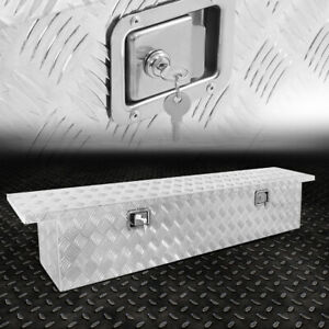 60 x12 x15 5 Metallic Aluminum Pickup Trunk Bed Tool Box Trailer Storage lock