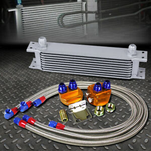Silver 9 Row 10an Engine Transmission Oil Cooler W Silver Filter Relocation Kit