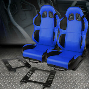 Pair Blue Pvc Reclinable Black Wing Racing Seat Bracket For 99 04 Ford Mustang