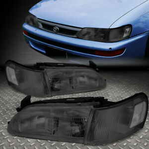 For 93 97 Toyota Corolla Smoked Housing Clear Corner Headlight Replacement Lamps