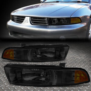 For 99 03 Mitsubishi Galant Smoked Housing Amber Corner Driving Headlight Lamps