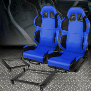 Blue Pvc Reclinable Black Wing Racing Seat Low Mount Bracket For 02 06 Acura Rsx