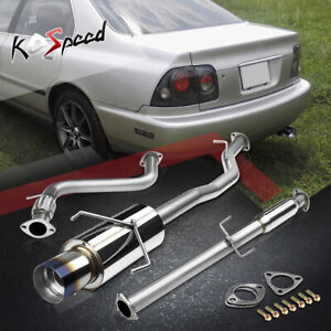 For 94 97 Honda Accord F22 L4 Stainless Catback Exhaust System 4 5 Burnt Tip