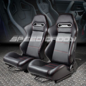 Pair Fully Reclinable Jdm Style Type r Black Leather Bucket Racing Seats sliders