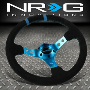 Nrg Reinforced 350mm 3 deep Dish Black Suede Blue Spoke stripe Steering Wheel