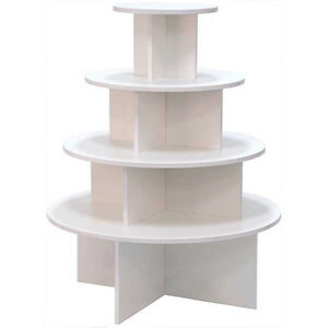 4 Tier Display Table Round Boutique Clothing Store Fixture White Knockdown New