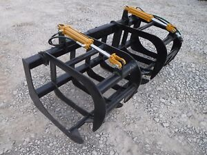Skid Steer Tractor Attachment 78 Dual Cylinder Root Grapple Bucket 99 Ship