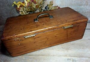Early Antique Hinge Lidded Box Pumpkin Pine Primitive 15 1 2 X 7 1 2 X 5