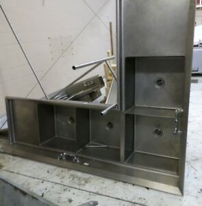Corner Sink 4 Compartment 8 X 6 5 With Stainless Legs And Twist Drains