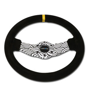 Nrg Reinforced 31cm 1 5 deep Wave Design 2 spokes Suede Racing Steering Wheel