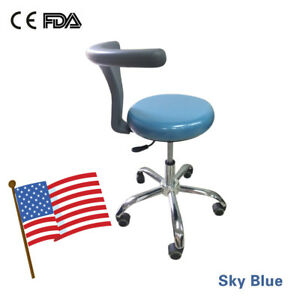 Usa Dental Doctor s Hygienist s Seat Stool Chair Adjustable Mobile Sky Blue Ce