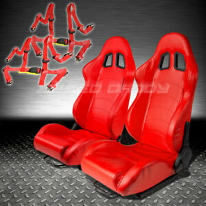 2x T1 Fully Reclinable Red Pvc Leather Racing Seat Seats Slider 4pt Harness Belt