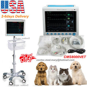 Vet Veterinary Icu Vital Signs Patient Monitor 6parameters rolling Stand Us New