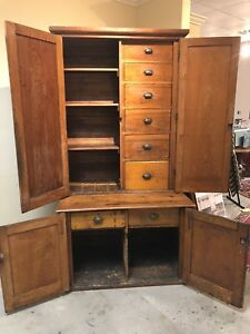 Antique Vintage Yellow Pine Sideboard Pantry Cabinet Handmade