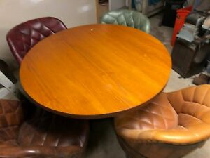 Vintage Oak Whiskey Barrel Dining Table And 4 Swivel Chairs Rock