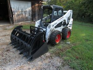 2011 Bobcat S650 Skid Steer Wheel Loader Bucket Tires Forks Grapple Ship 500