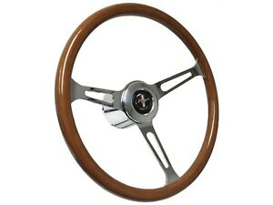 1965 1967 Ford Mustang S6 Classic Wood Steering Wheel Covert Kit Pony Emblem
