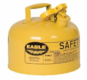 Eagle Ui 25 sy Yellow Metal Safety Gas Can 2 5 Gal Capacity