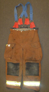 38l Firefighter Pants W Suspenders Bunker Fire Turn Out Gear Janesville P890