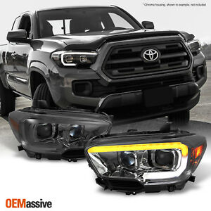 Fits 2016 2020 Toyota Tacoma Sr sr5 Sequential Smoked Led Projector Headlights