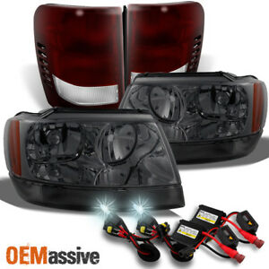 Fit 99 04 Jeep Grand Cherokee Smoked Headlights Dark Red Tail Lights 6k Hid